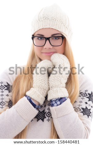 attractive young cute woman in eyeglasses with long hair in warm winter clothes isolated on white background - stock photo