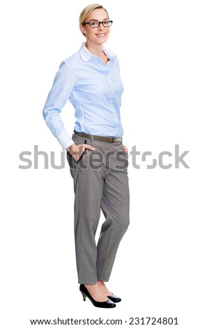 attractive young employee businesswoman with confidence standing in studio on white background - stock photo