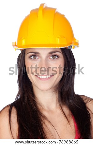 Attractive young engineer isolated on a over a white background - stock photo