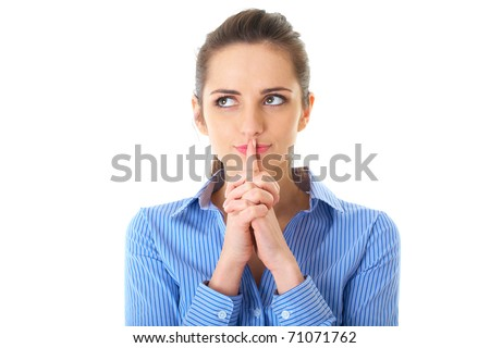 attractive young female hold her finger on lips, quiet please, studio shoot isolated on white - stock photo
