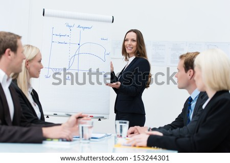 Attractive young female team leader discussing an innovative design standing at a flipchart giving a presentation to her team - stock photo
