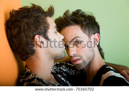 Attractive young gay couple with stylish hair and clothing