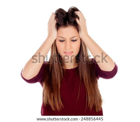 Attractive young girl expressing negativity isolated on a white background - stock photo