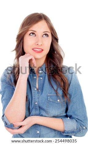 Attractive young girl thinking isolated on a white background - stock photo