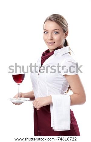 Attractive young girl with a glass of wine on a white background - stock photo