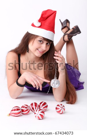 attractive young girl with christmas vivid presents