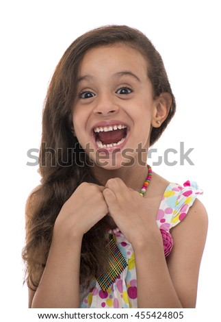 Attractive Young Girl With Funny Smile Isolated on White Background - stock photo