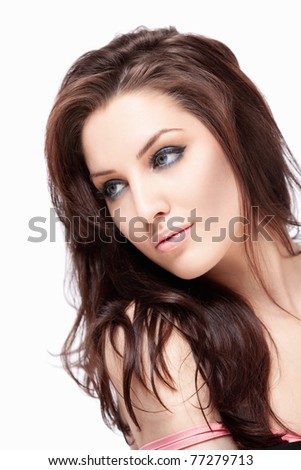Attractive young girl with makeup on white background