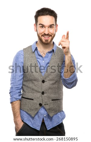 Attractive young guy talking on mobile isolated on white background - stock photo