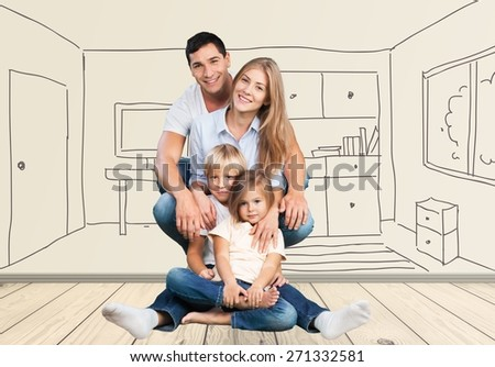 Attractive. Young happy family on white background - stock photo