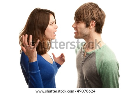 Attractive young hipster couple on white background - stock photo