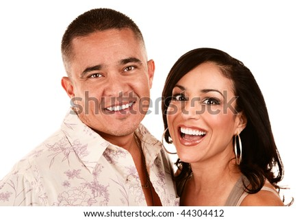 Attractive Young Hispanic Couple on White Background - stock photo