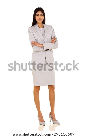 attractive young indian businesswoman posing on white background - stock photo