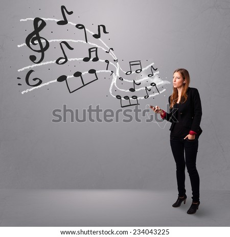 attractive young lady singing and listening to music with musical notes getting out of her mouth - stock photo