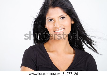 attractive young latin woman on white - stock photo