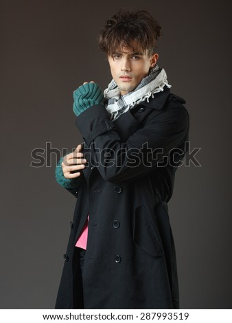 Attractive young male model posing in the studio  - stock photo