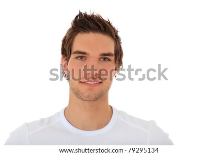 Attractive young man. All on white background. - stock photo