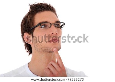 Attractive young man deliberates a decision. All on white background. - stock photo