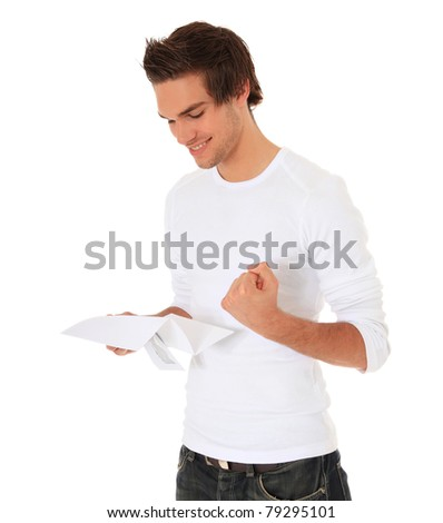 Attractive young man getting good news. All on white background. - stock photo