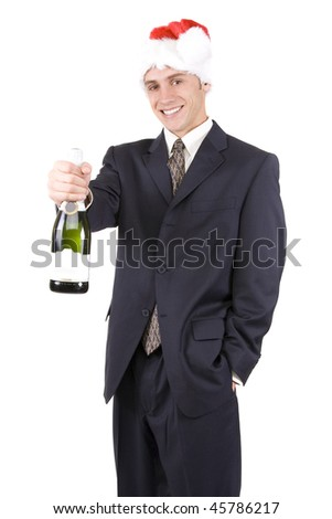 Attractive young man holding champagne and flutes