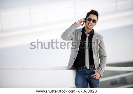 Attractive young man in urban and modern background