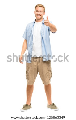Attractive young man smiling full length on white background - stock photo