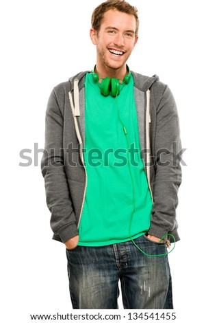 Attractive young man wearing hoodie smiling whit background portrait - stock photo