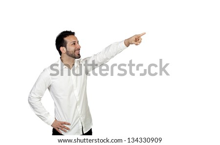 Attractive young men pointing something isolated on white background - stock photo
