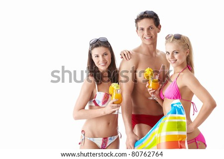 Attractive young men with a cocktail on a white background - stock photo