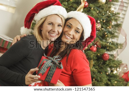 Attractive Young Mixed Race Girlfriends with Christmas Gift Wearing Santa Hats Near the Tree. - stock photo