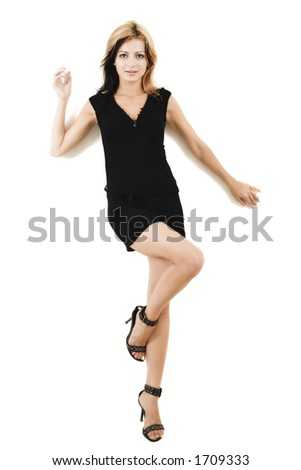 Attractive young model posing in a cute black dress - isolated on white - very high resolution - stock photo