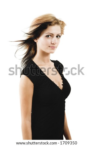 Attractive young model posing in a cute black dress - isolated on white - very high resolution
