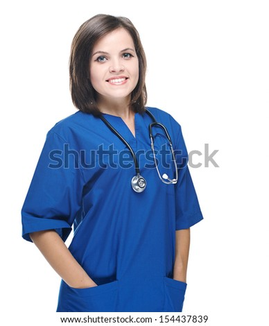 Attractive young nurse with a stethoscope. Isolated on white background