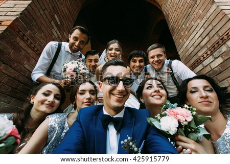 Attractive young people in the wedding day - stock photo