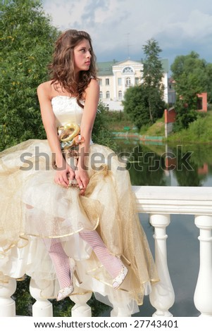 attractive young princess dreams of future - stock photo