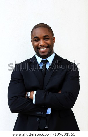 Attractive, Young Professional African American Businessman Smiling - stock photo