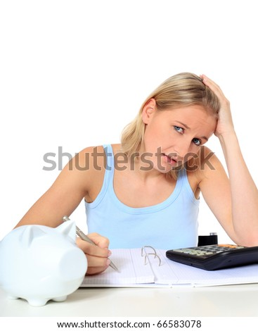 Attractive young scandinavian woman being shocked of high tuition fees. All on white background.