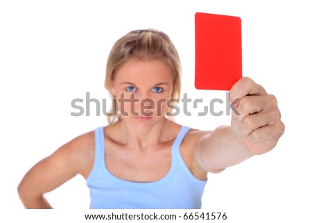 Attractive young scandinavian woman showing red card. Selective focus on hand in foreground. All on white background. - stock photo