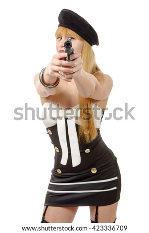 attractive young sexy woman with a gun isolated on white - stock photo