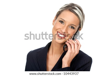 attractive young smile business woman calling by  phone