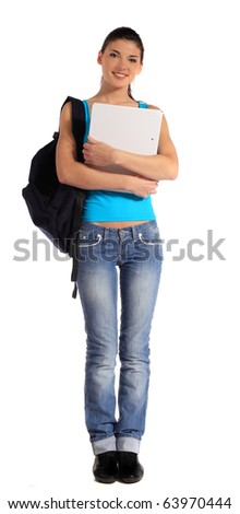 Attractive young student. All on white background.
