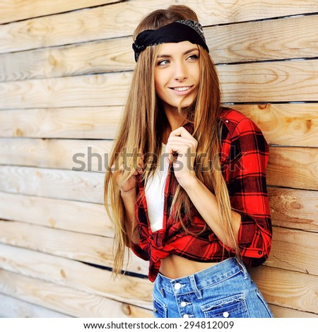Attractive young stylish woman portrait  - stock photo