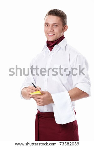 Attractive young waiter on a white background - stock photo