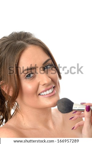 Attractive Young Woman Applying Make Up