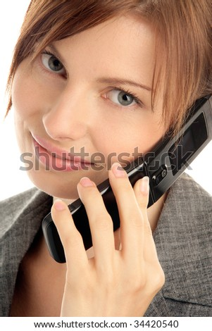 Attractive young woman calling by cellular phone isolated on white background