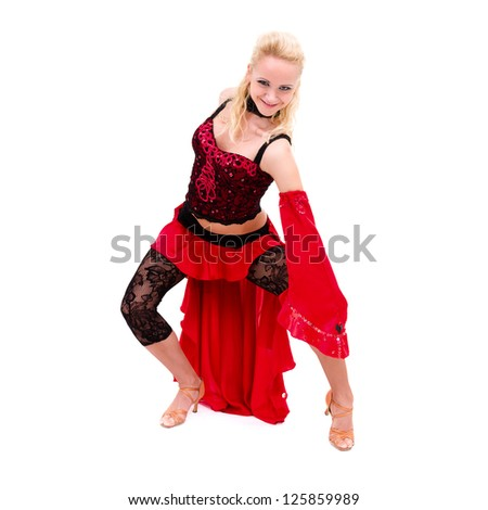 attractive young woman dancer  posing against isolated white background - stock photo