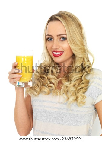 Attractive Young Woman Drinking Orange Juice
