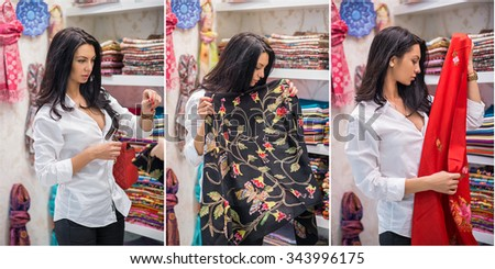 Attractive young woman fashion shot in mall. Beautiful fashionable young lady in white shirt in shopping area. Casual long hair brunette picking clothes and accessories, indoors shot - stock photo