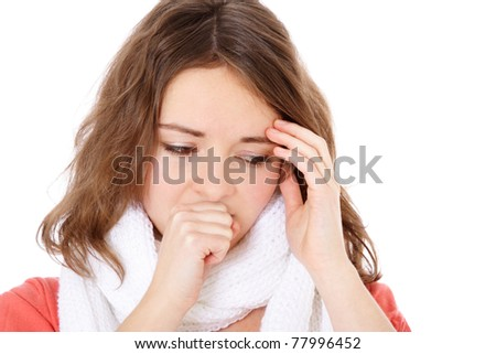 Attractive young woman feels unwell. All on white background.