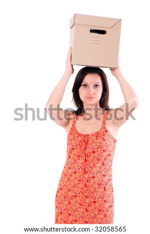 attractive young woman from dark hair with cardboard box on her head - stock photo
